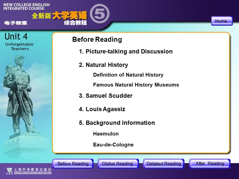 BR-main Before Reading 2. Natural History 3. Samuel Scudder 4.
