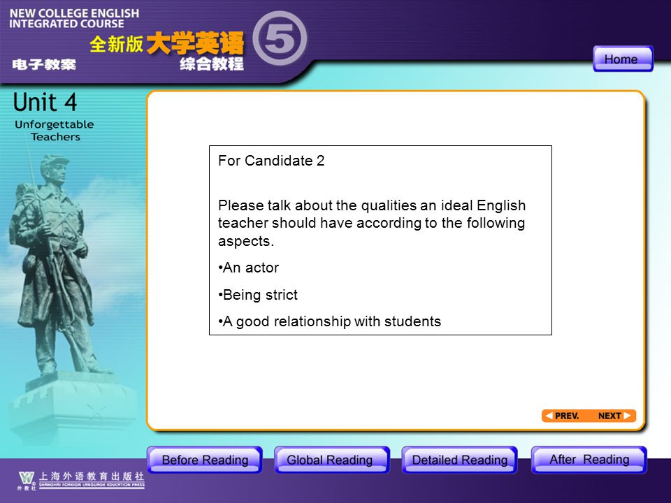 AR-cue card For Candidate 2 Please talk about the qualities an ideal English teacher should have according to the following aspects.