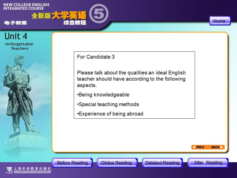 AR-cue card For Candidate 3 Please talk about the qualities an ideal English teacher should have according to the following aspects.