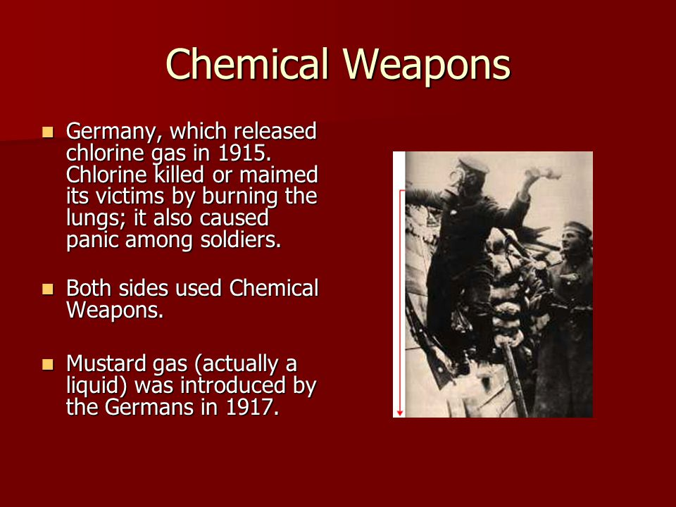 Chemical Weapons Germany, which released chlorine gas in 1915.