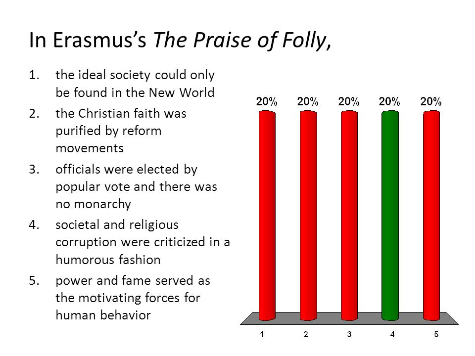 In Erasmus's The Praise of Folly, 1.the ideal society could only be found in the New World 2.the Christian faith was purified by reform movements 3.officials were elected by popular vote and there was no monarchy 4.societal and religious corruption were criticized in a humorous fashion 5.power and fame served as the motivating forces for human behavior