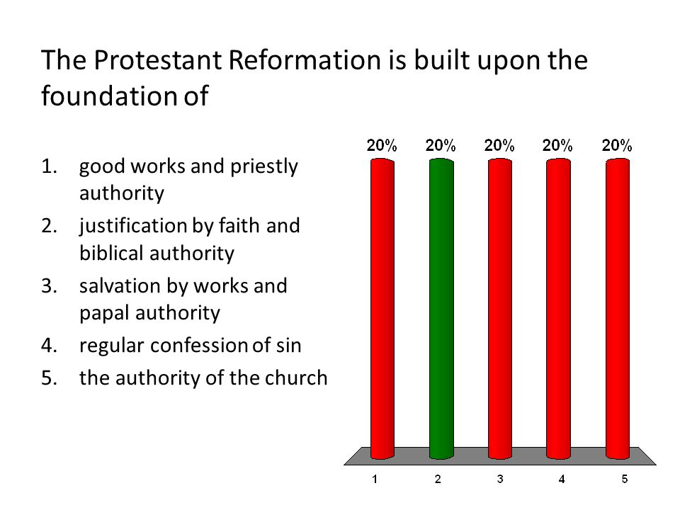 The Protestant Reformation is built upon the foundation of 1.good works and priestly authority 2.justification by faith and biblical authority 3.salvation by works and papal authority 4.regular confession of sin 5.the authority of the church