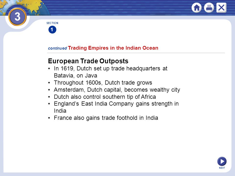 NEXT European Trade Outposts In 1619, Dutch set up trade headquarters at Batavia, on Java Throughout 1600s, Dutch trade grows Amsterdam, Dutch capital