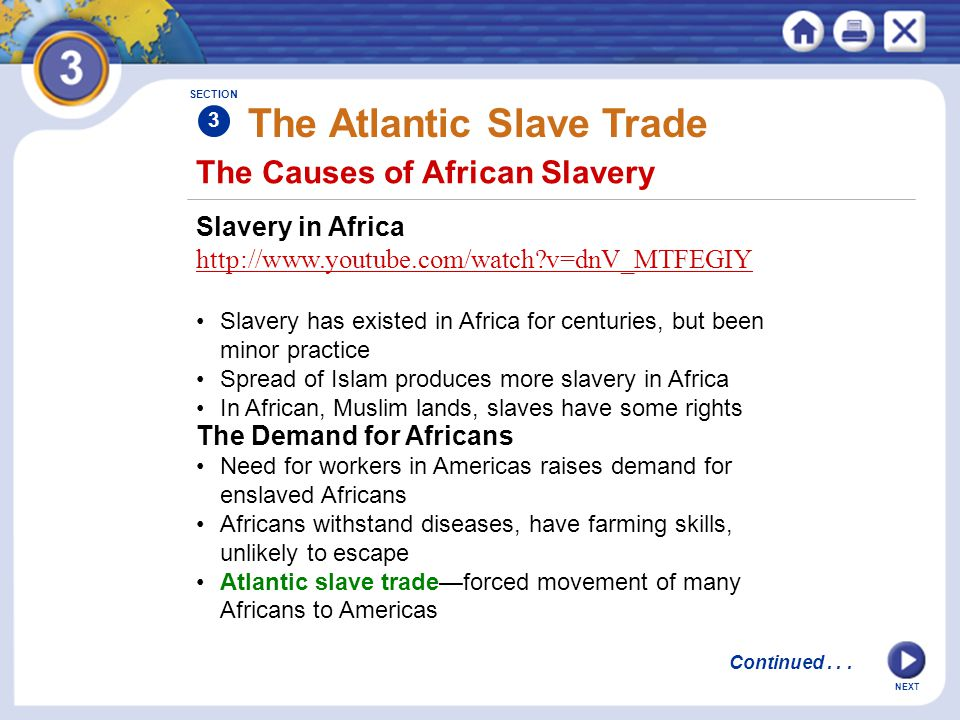 The Causes of African Slavery Slavery in Africa http://www.youtube.com/watch?v=dnV_MTFEGIY Slavery has existed in Africa for centuries, but been minor