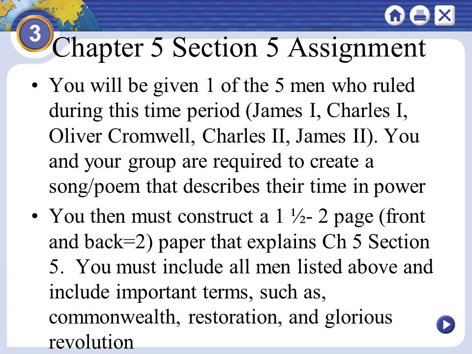 Chapter 5 Section 5 Assignment You will be given 1 of the 5 men who ruled during this time period (James I, Charles I, Oliver Cromwell, Charles II, Ja