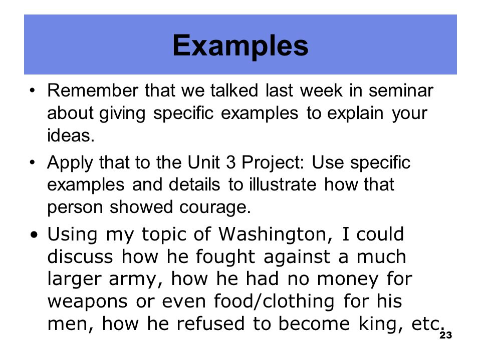 Examples Remember that we talked last week in seminar about giving specific examples to explain your ideas. Apply that to the Unit 3 Project: Use spec