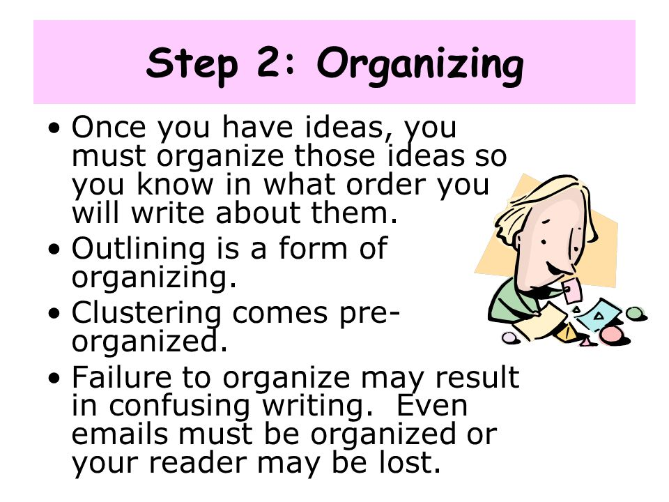 Step 2: Organizing Once you have ideas, you must organize those ideas so you know in what order you will write about them. Outlining is a form of orga