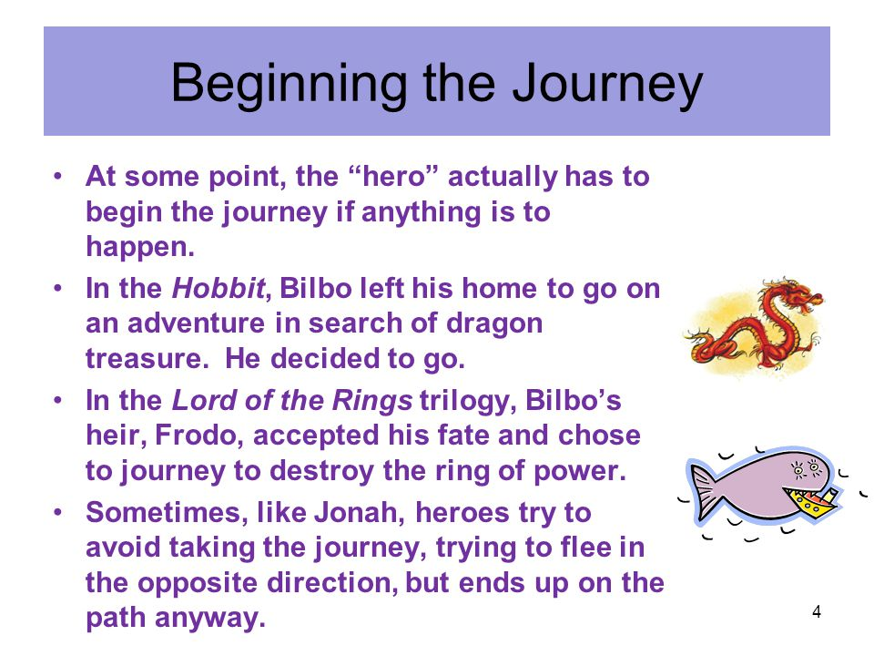 """Beginning the Journey At some point, the """"hero"""" actually has to begin the journey if anything is to happen. In the Hobbit, Bilbo left his home to go o"""