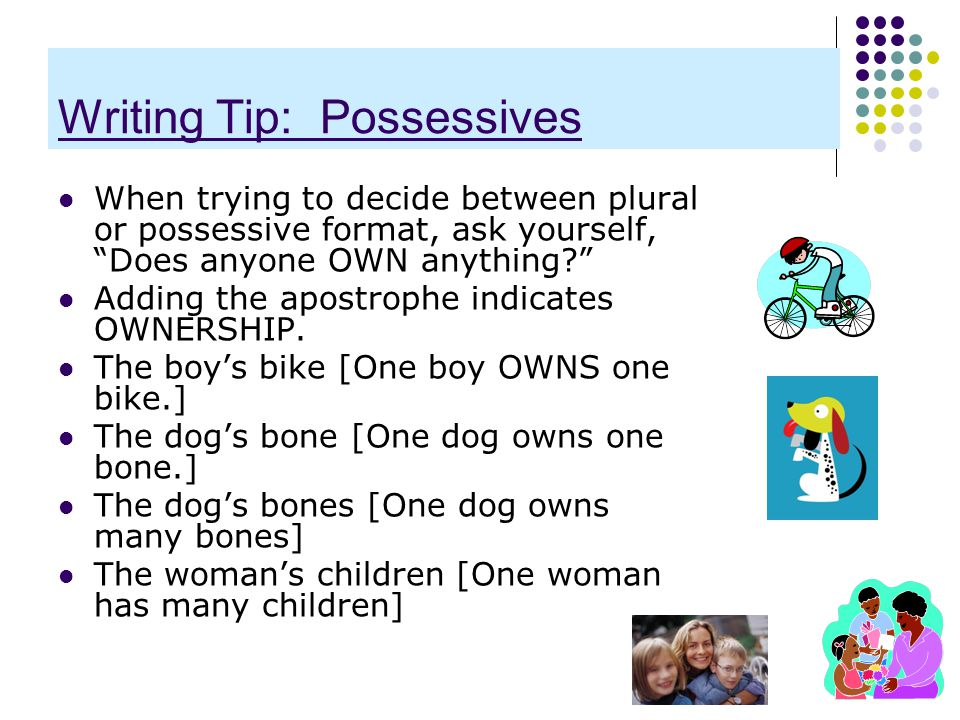 """Writing Tip: Possessives When trying to decide between plural or possessive format, ask yourself, """"Does anyone OWN anything?"""" Adding the apostrophe in"""