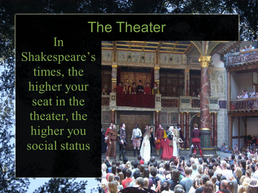 The Theater In Shakespeare's times, the higher your seat in the theater, the higher you social status