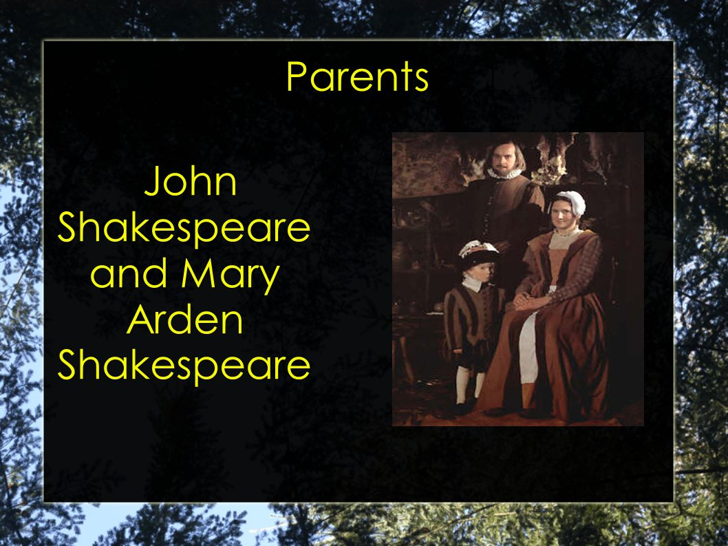 Parents John Shakespeare and Mary Arden Shakespeare