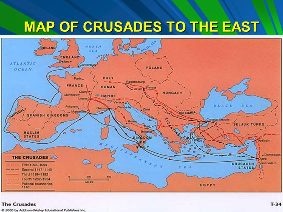 MAP OF CRUSADES TO THE EAST