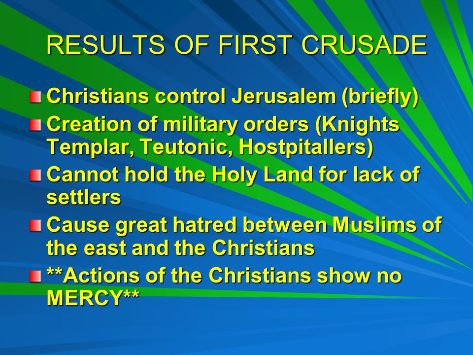 RESULTS OF FIRST CRUSADE Christians control Jerusalem (briefly) Creation of military orders (Knights Templar, Teutonic, Hostpitallers) Cannot hold the Holy Land for lack of settlers Cause great hatred between Muslims of the east and the Christians **Actions of the Christians show no MERCY**