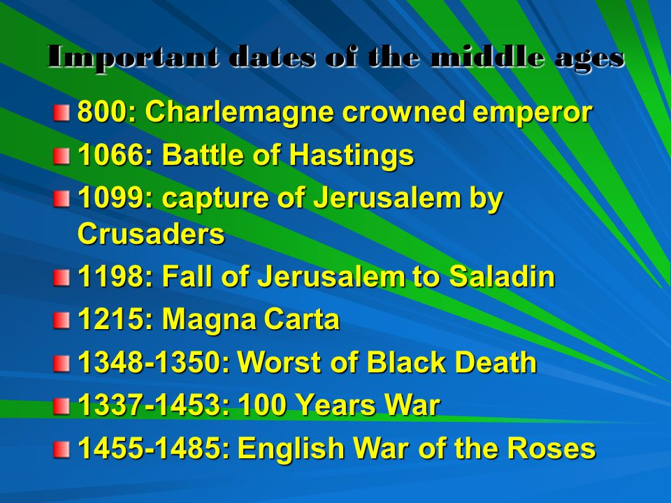 Important dates of the middle ages 800: Charlemagne crowned emperor 1066: Battle of Hastings 1099: capture of Jerusalem by Crusaders 1198: Fall of Jerusalem to Saladin 1215: Magna Carta 1348-1350: Worst of Black Death 1337-1453: 100 Years War 1455-1485: English War of the Roses