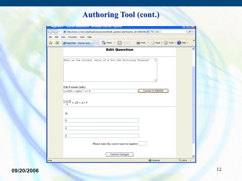 12 09/20/2006 Authoring Tool (cont.)