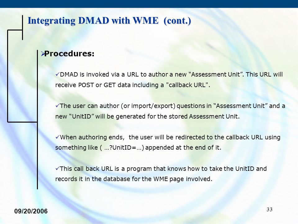 """33  Procedures: DMAD is invoked via a URL to author a new """"Assessment Unit"""". This URL will receive POST or GET data including a"""