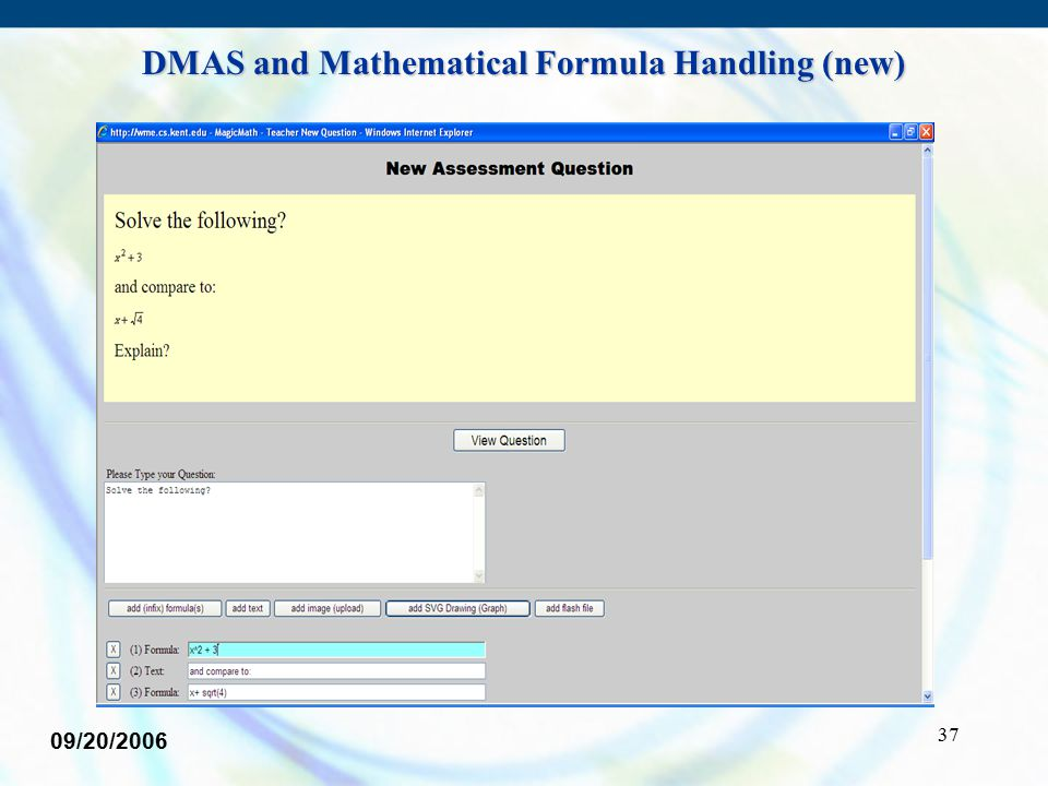 37 09/20/2006 DMAS and Mathematical Formula Handling (new)
