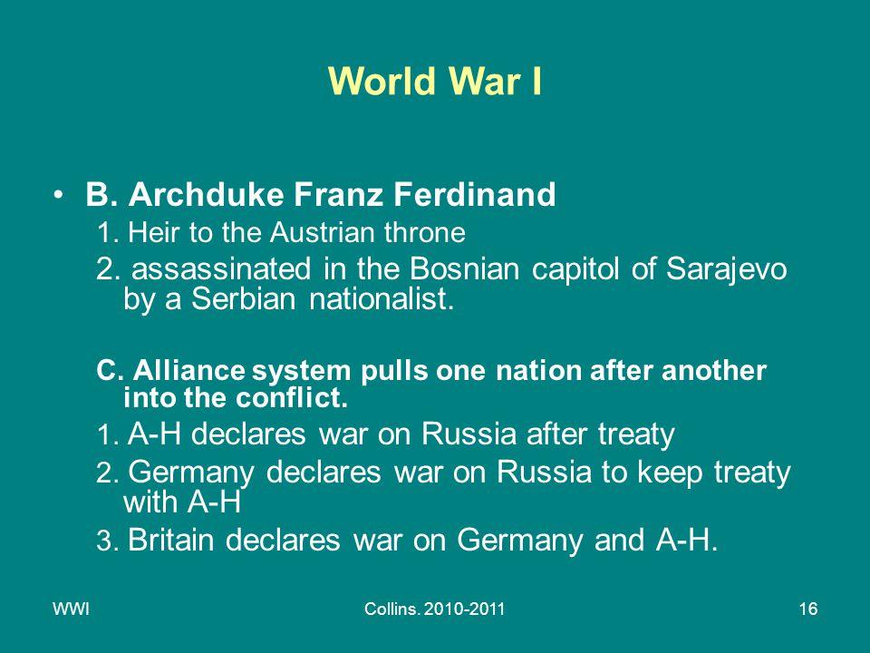 WWICollins. 2010-201116 World War I B. Archduke Franz Ferdinand 1.