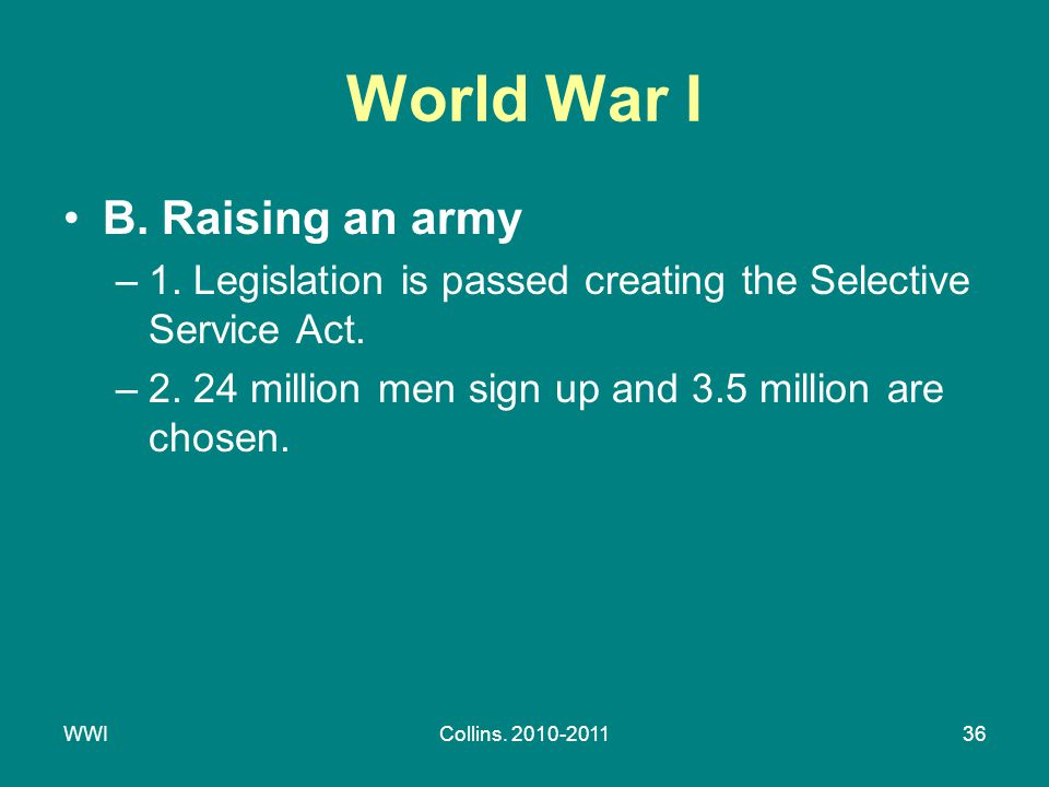 WWICollins. 2010-201136 World War I B. Raising an army –1.