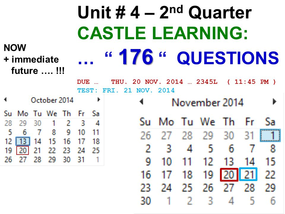 Unit # 4 – 2 nd Quarter 176 CASTLE LEARNING: … 176 QUESTIONS DUE … THU.