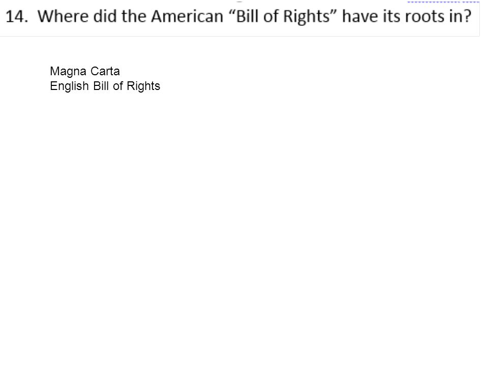 Magna Carta English Bill of Rights