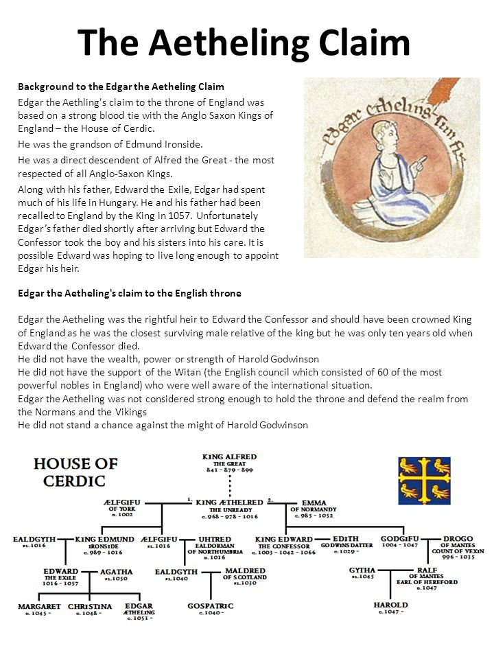 The Aetheling Claim Background to the Edgar the Aetheling Claim Edgar the Aethling s claim to the throne of England was based on a strong blood tie with the Anglo Saxon Kings of England – the House of Cerdic.