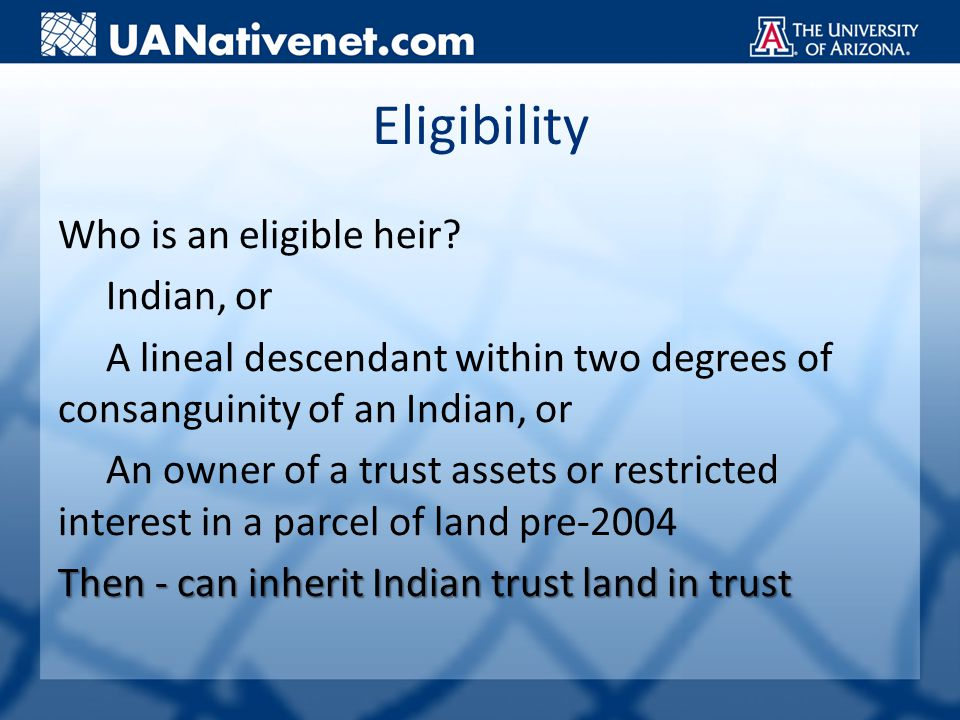 Eligibility Who is an eligible heir.