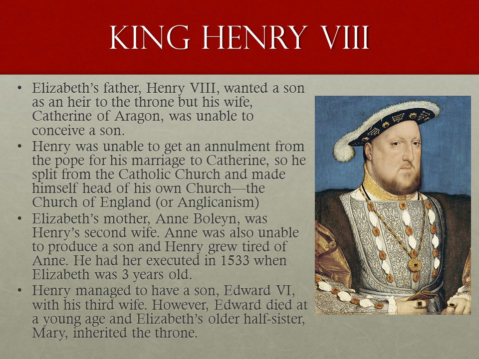 King Henry VIII Elizabeth's father, Henry VIII, wanted a son as an heir to the throne but his wife, Catherine of Aragon, was unable to conceive a son.Elizabeth's father, Henry VIII, wanted a son as an heir to the throne but his wife, Catherine of Aragon, was unable to conceive a son.