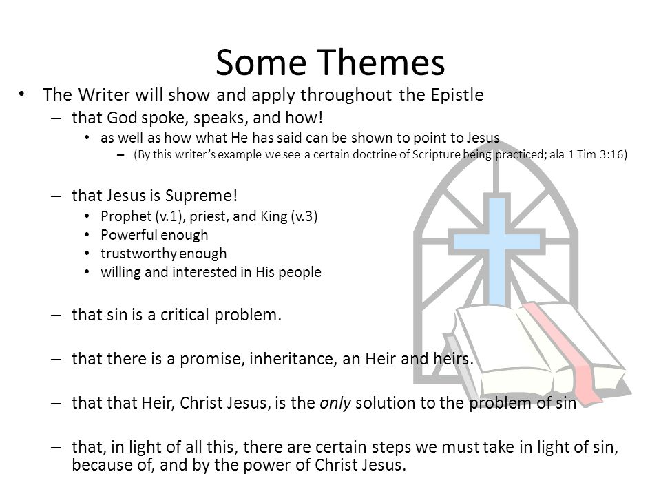 Some Themes The Writer will show and apply throughout the Epistle – that God spoke, speaks, and how.