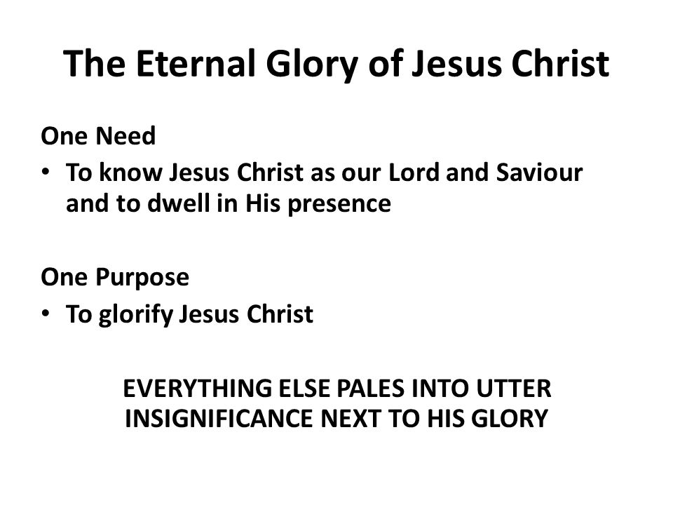 The Eternal Glory of Jesus Christ One Need To know Jesus Christ as our Lord and Saviour and to dwell in His presence One Purpose To glorify Jesus Christ EVERYTHING ELSE PALES INTO UTTER INSIGNIFICANCE NEXT TO HIS GLORY