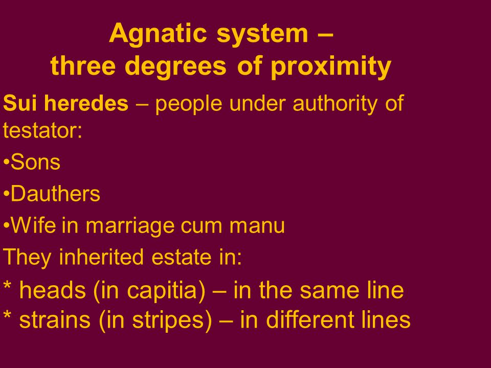 Agnatic system – three degrees of proximity Sui heredes – people under authority of testator: Sons Dauthers Wife in marriage cum manu They inherited estate in: * heads (in capitia) – in the same line * strains (in stripes) – in different lines