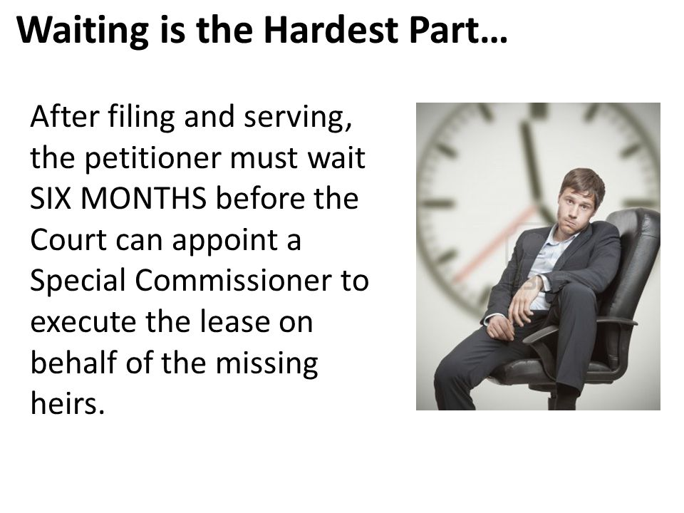 Waiting is the Hardest Part… After filing and serving, the petitioner must wait SIX MONTHS before the Court can appoint a Special Commissioner to exec