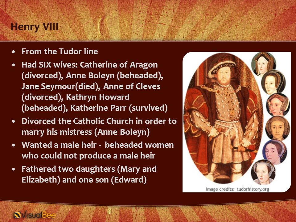 Prince Edward The sole male heir to Henry's throne; mother was Jane Seymour who died giving birth to him Became king at age 9, died at 16 Trend toward Protestantism continued Left behind no heir, so crown went to a woman for the first time
