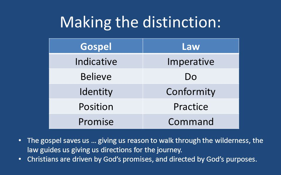 Making the distinction: GospelLaw IndicativeImperative BelieveDo IdentityConformity PositionPractice PromiseCommand The gospel saves us … giving us reason to walk through the wilderness, the law guides us giving us directions for the journey.
