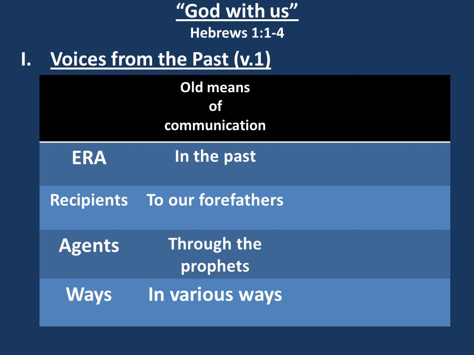 God with us Hebrews 1:1-4 Some Prophetic Scriptures: Genesis 3:15, 22:18, 49:10, Deuteronomy 18:15, Psalm 2, 16:10, 45:2, 68:18, 69:21, 110:1, 118:22, 132:11, Isaiah 2:4, 7:14, 9:6, 11:1, 28:16, 42:1, 53, 59:16, 61:1, 63:1, Jeremiah 23:5, Daniel 9:25, Micah 5:2, Haggai 2:7, Zechariah 3:8, 6:12, 9:9, 11:12, 12:10, 13:7, Malachi 3:1