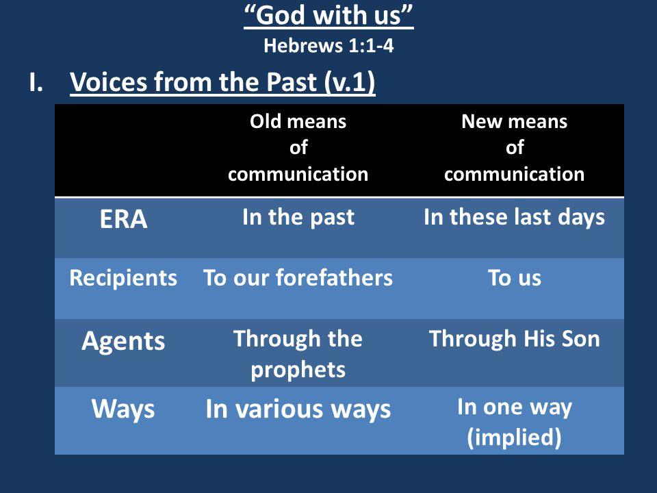 God with us Hebrews 1:1-4 II. Today's Voice (vv.2-4)