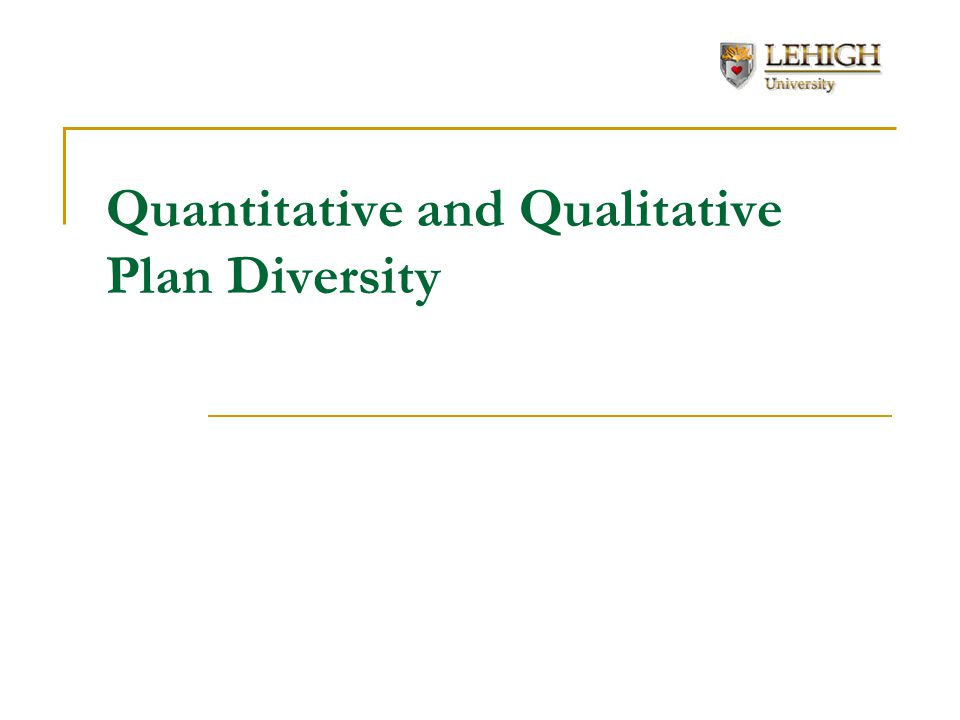 Quantitative and Qualitative Plan Diversity