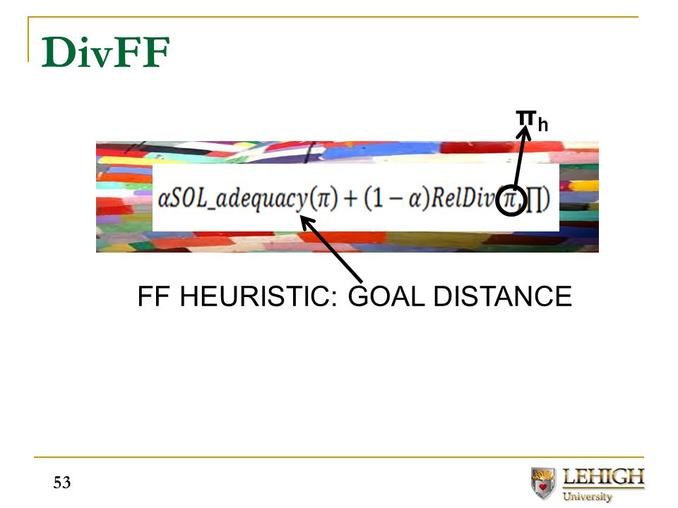 DivFF 53 FF HEURISTIC: GOAL DISTANCE πhπh 53
