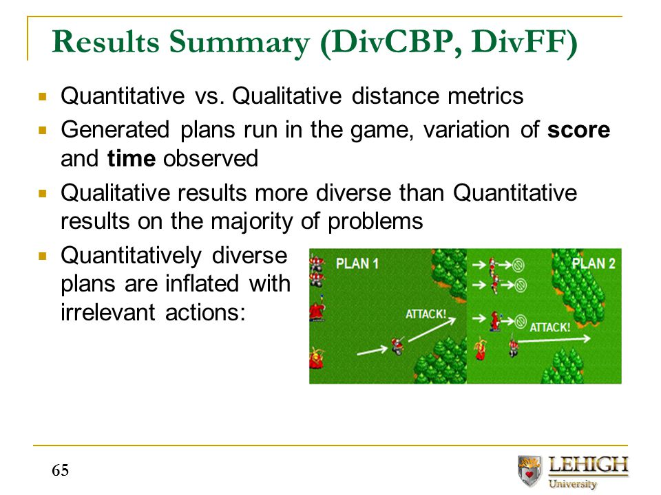 Results Summary (DivCBP, DivFF)  Quantitative vs. Qualitative distance metrics  Generated plans run in the game, variation of score and time observe