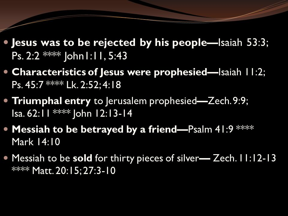 Jesus was to be rejected by his people—Isaiah 53:3; Ps.