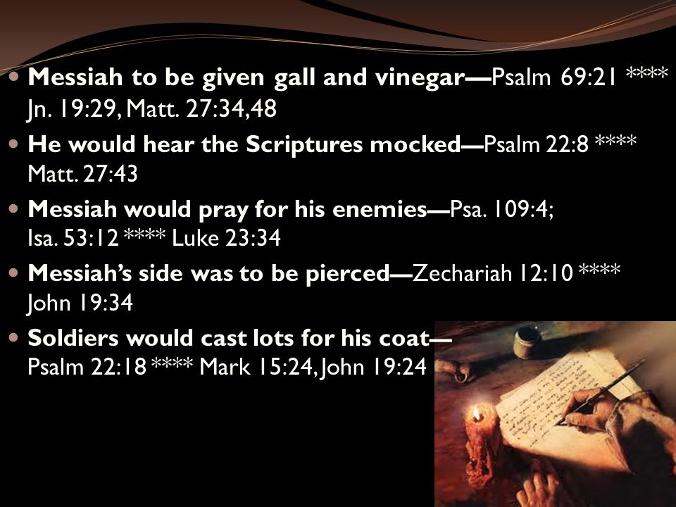 Messiah to be given gall and vinegar—Psalm 69:21 **** Jn.