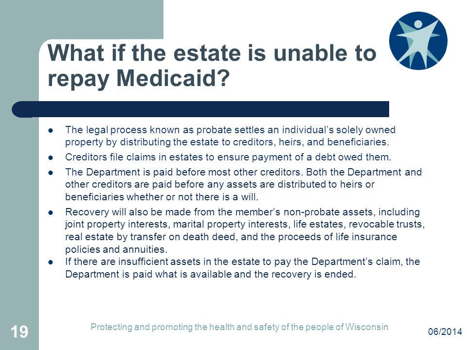 What if the estate is unable to repay Medicaid? The legal process known as probate settles an individual's solely owned property by distributing the e