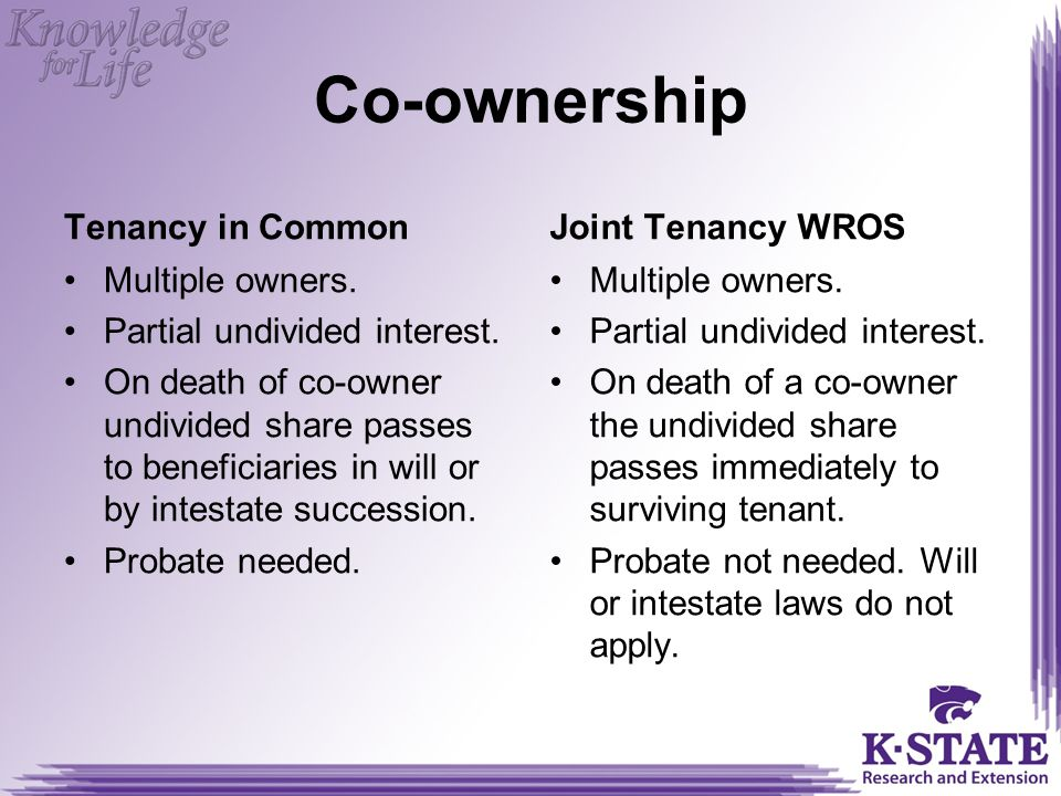 Co-ownership Tenancy in Common Multiple owners.Partial undivided interest.