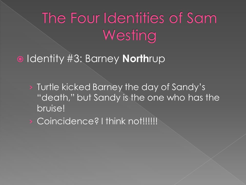 " Identity #3: Barney North rup › Turtle kicked Barney the day of Sandy's ""death,"" but Sandy is the one who has the bruise! › Coincidence? I think not"