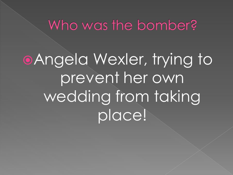  Angela Wexler, trying to prevent her own wedding from taking place!
