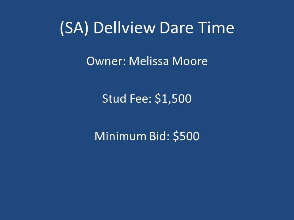 (SA) Dellview Dare Time Owner: Melissa Moore Stud Fee: $1,500 Minimum Bid: $500