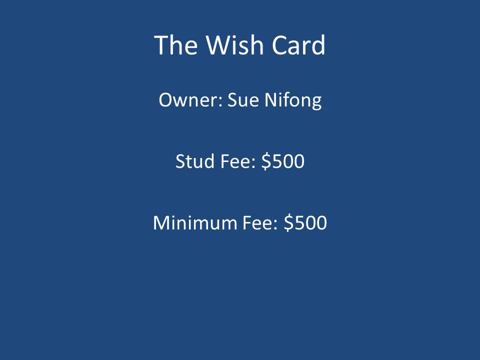 The Wish Card Owner: Sue Nifong Stud Fee: $500 Minimum Fee: $500