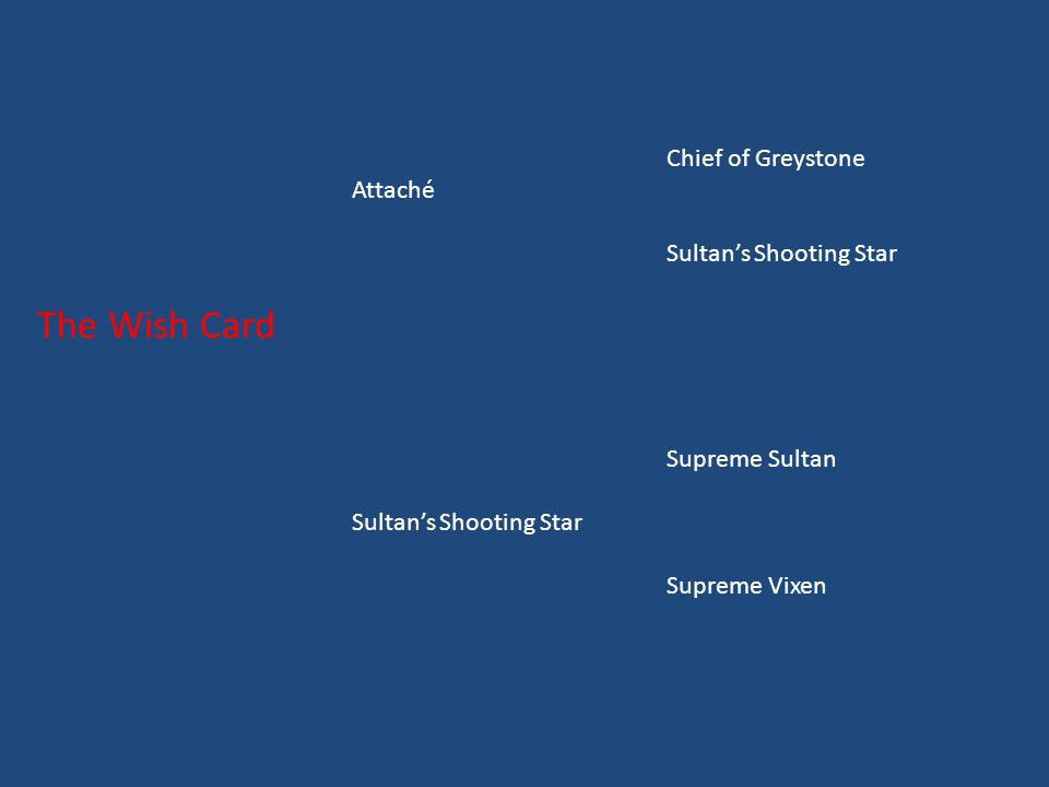 Chief of Greystone Attaché Sultan's Shooting Star The Wish Card Supreme Sultan Sultan's Shooting Star Supreme Vixen