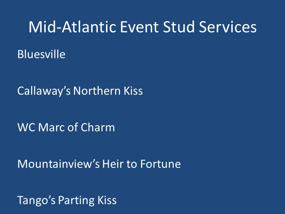 Mid-Atlantic Event Stud Services Bluesville Callaway's Northern Kiss WC Marc of Charm Mountainview's Heir to Fortune Tango's Parting Kiss