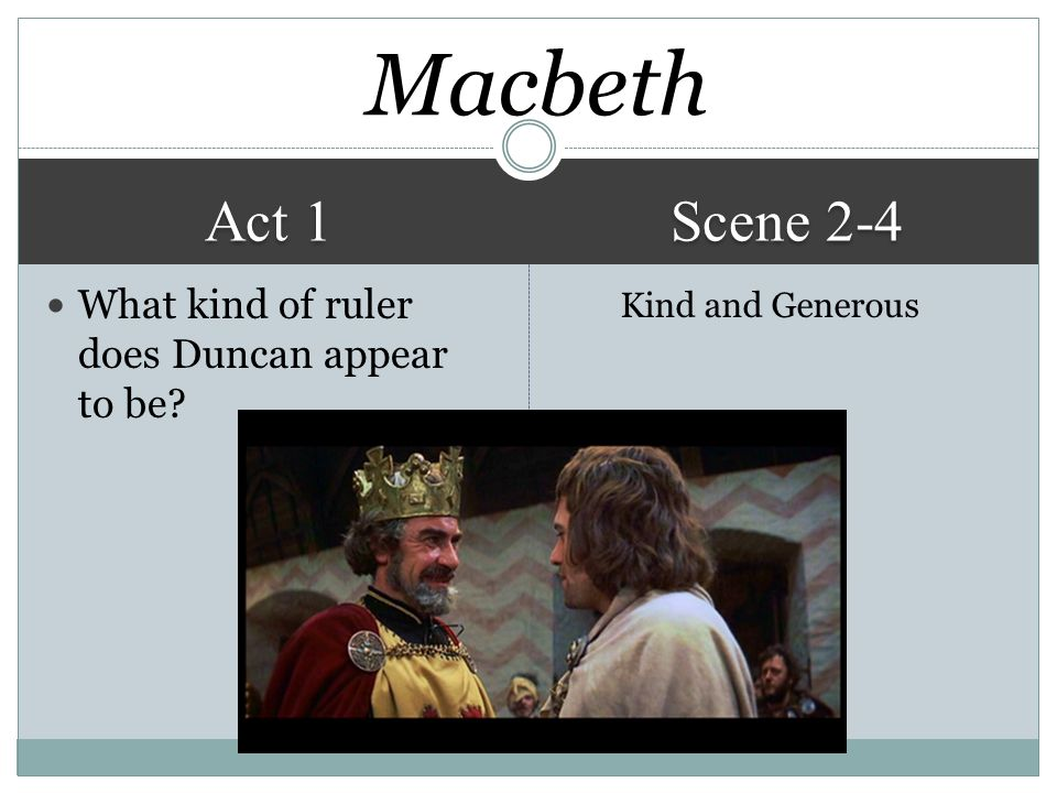 Act 1 Scene 2-4 Kind and Generous What kind of ruler does Duncan appear to be? Macbeth
